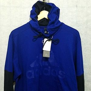 Adidas Blue Graphic logo Pullover Hoodie NWT